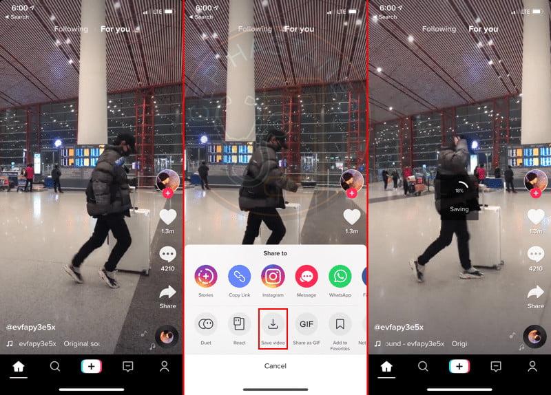 iPhone'da TikTok videosu indirme