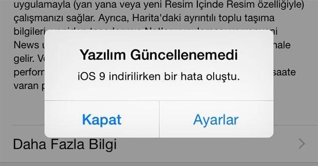 iphone yazılım hatası