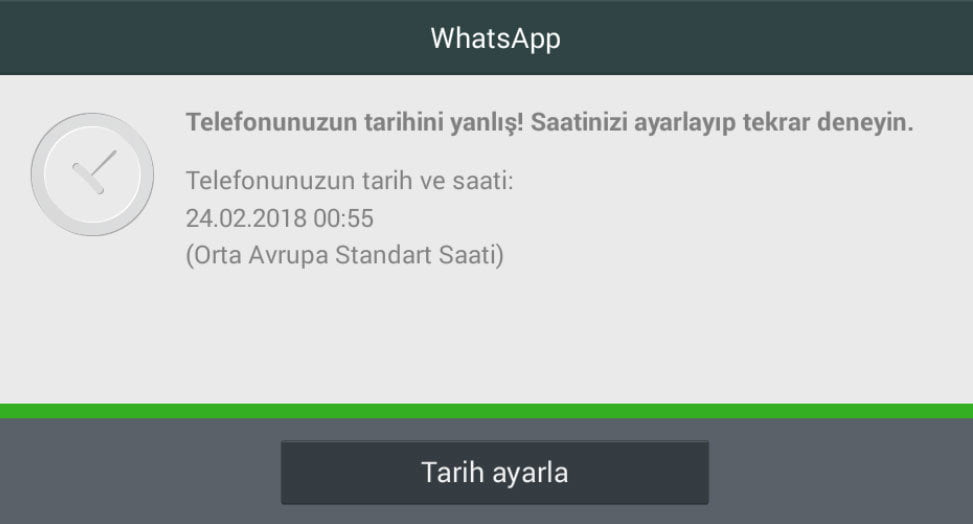 Whatsapp Tarih ve Saat Doğru Değil
