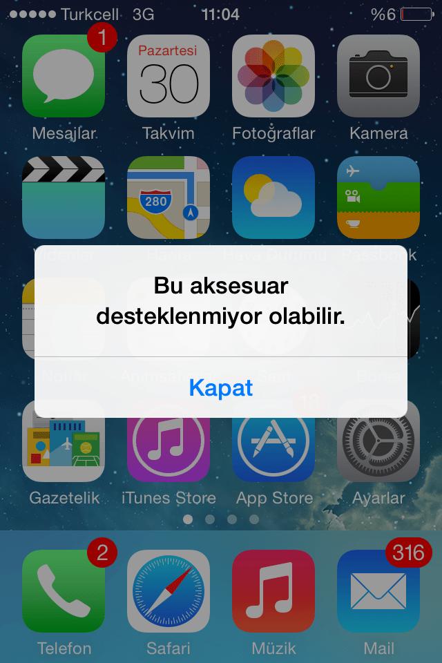 iphone bu aksesuar desteklenmiyor hatası