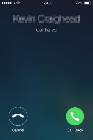 iphone arama başarısız