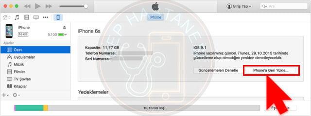 iphone geri yükleme işlemi