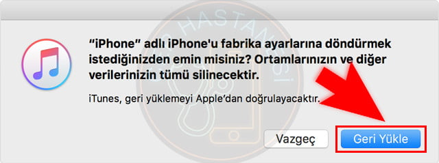 iphone geri yükle
