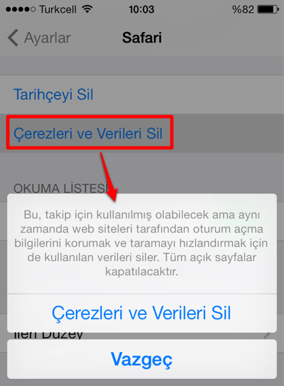 Safari Çerez Kullanımı