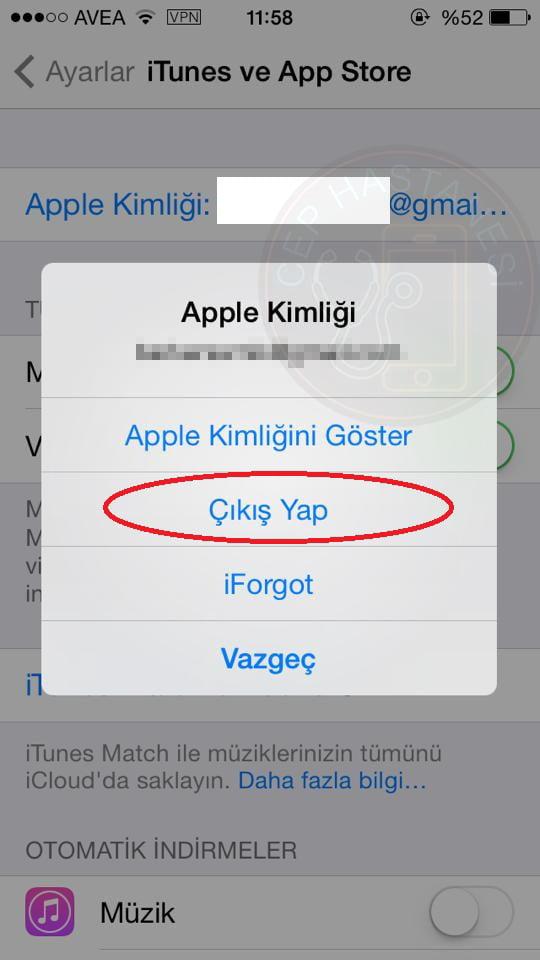 apple kimliği çıkış yapma