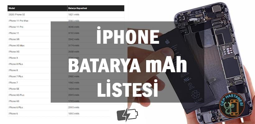 iPhone Batarya mAh Listesi